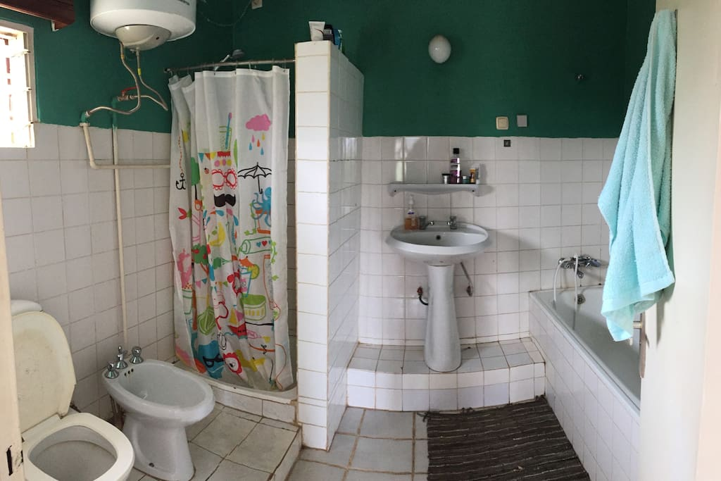 Bathroom with shower and bath and plenty of hot water (and water pressure)