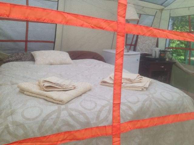 Hotel style comfort in a tent