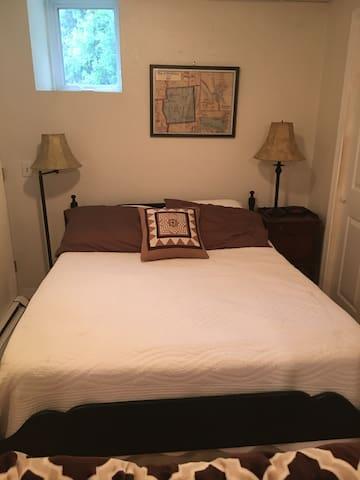 Comfy cozy full bed. Plenty of closet space.