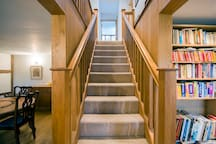 Oak staircase to the two bedrooms and bathroom.