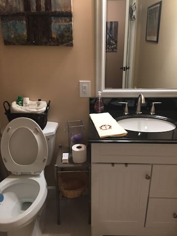 main guest bathroom which is on main floor not where room is