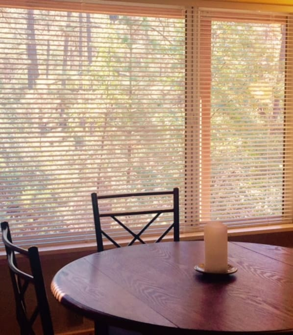 Dining table with forest view