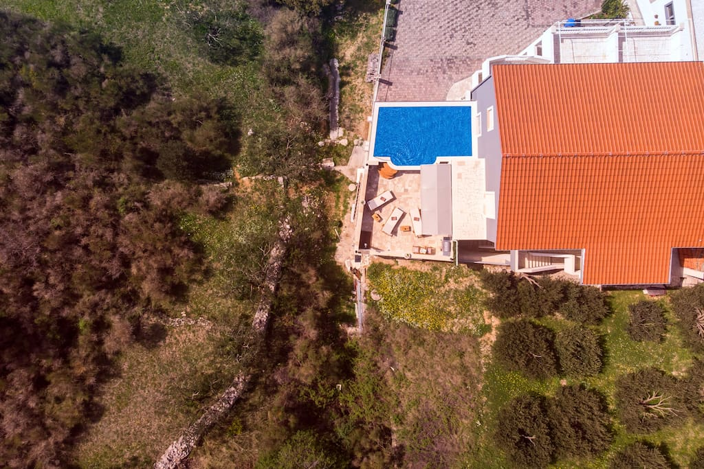 Bird view on the house, pool and terrace