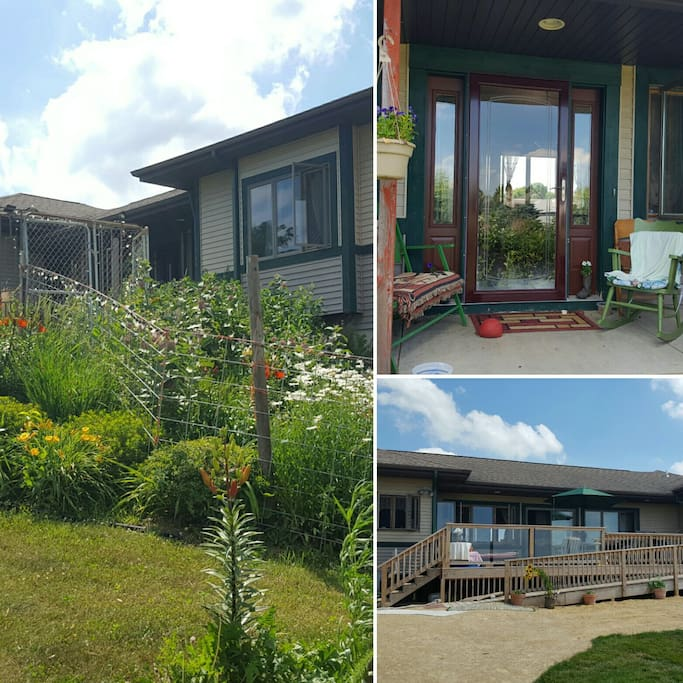 A collection of images of the front walk-up, front porch and back deck.