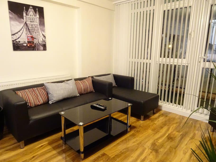 Modern living area with sofa & seating,