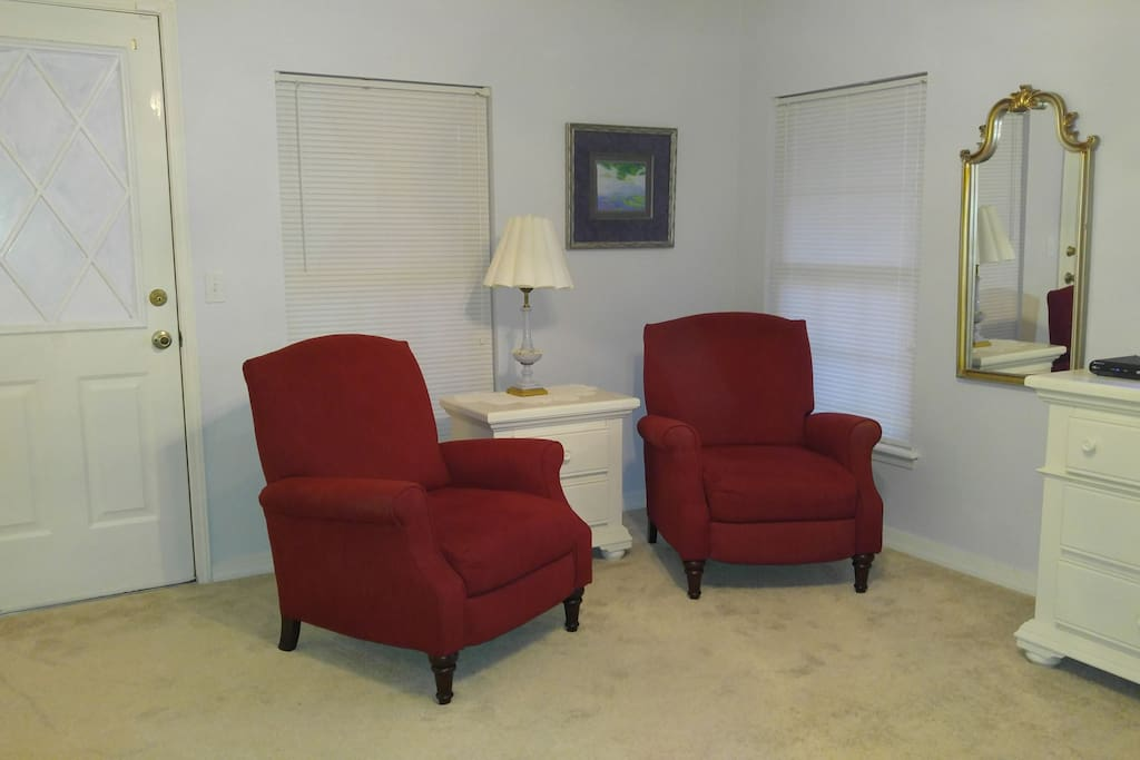 Two cozy recliners to relax in