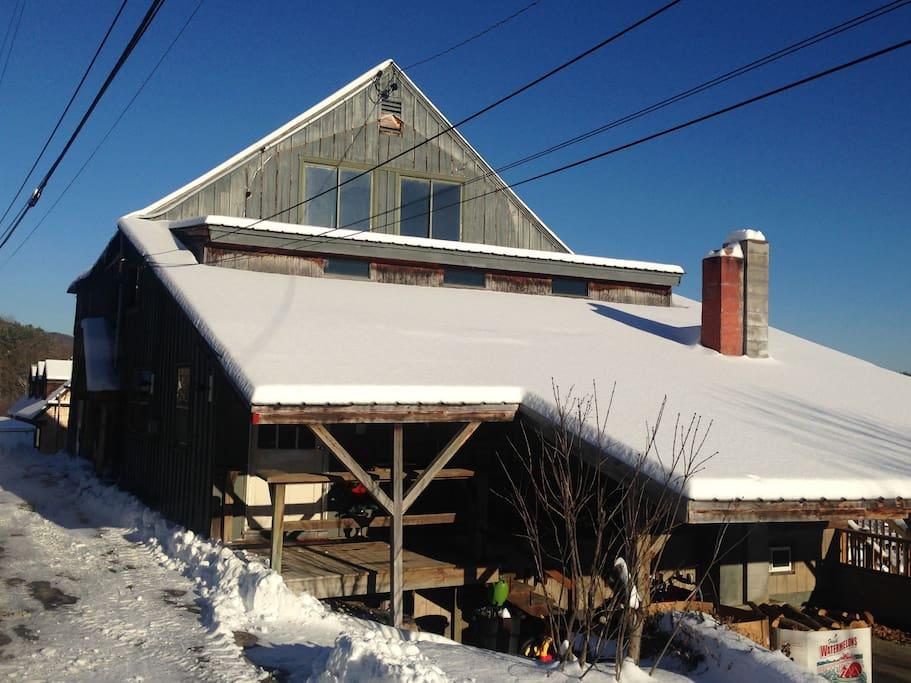barn in winter