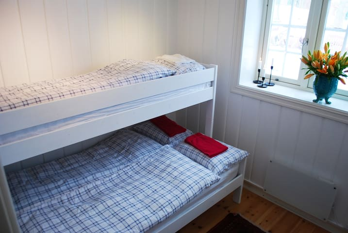 180cm wide bed below. 90cm bunk above. Suitable for a couple with a toddler or two friends/co-workers. This room will not accommodate three grown men for a long period.  The photo will be updated: the current bed is bigger than the one in the photo