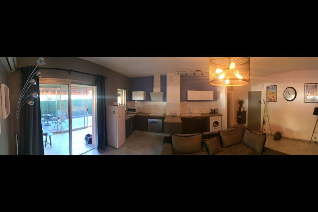 Open kitchen (American style) living room. Veranda and terrace