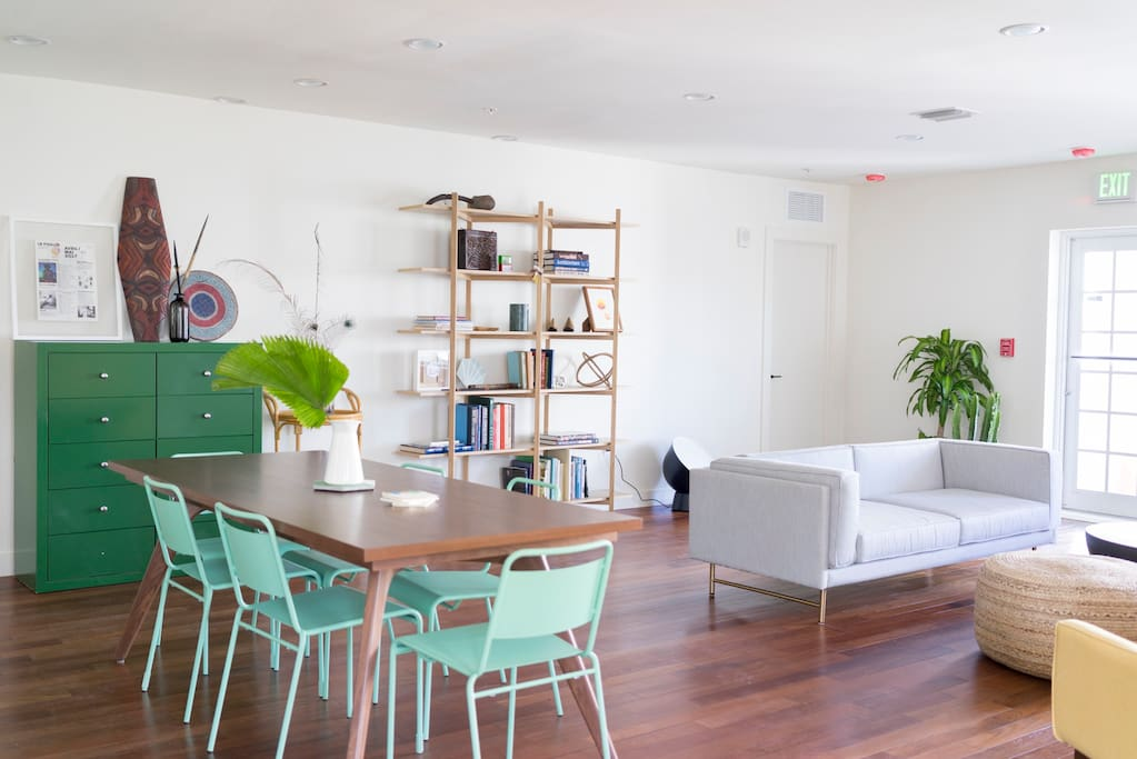 Dining and living areas share space.