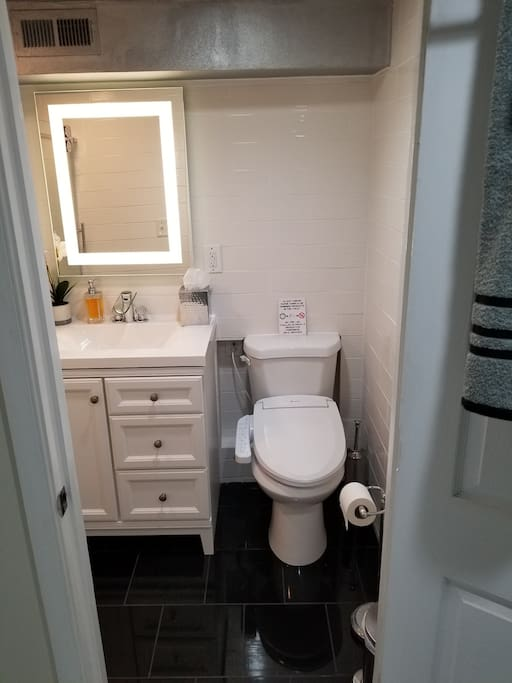 Newly renovated tile bathroom bidet toilet LED mirror