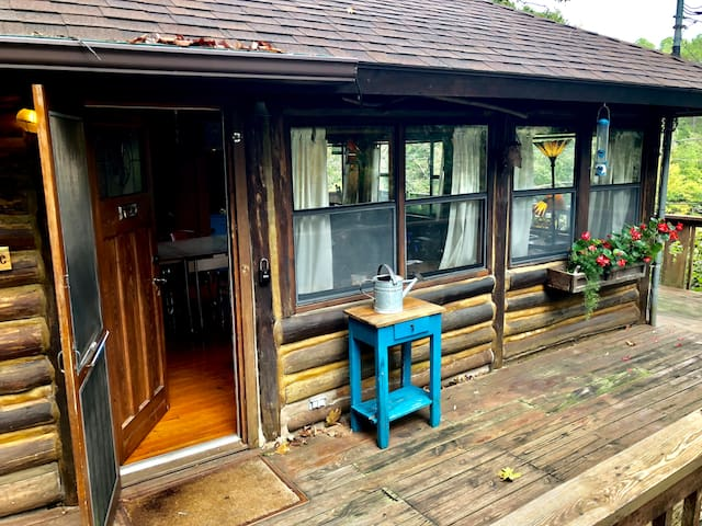 LakeWood Cabin #4, Lake Front, Wrap Around Deck, 1930's Log Cabin, New Kitchen, One Bedroom