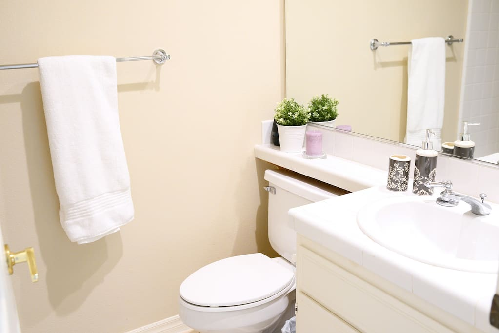Clean bathroom is located right next to your room