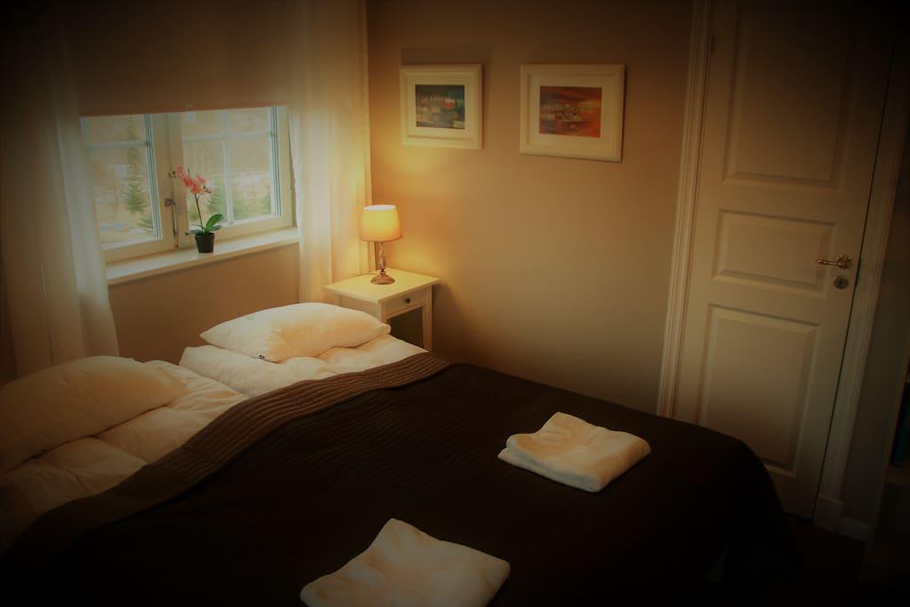 Room with bed and bathroom door