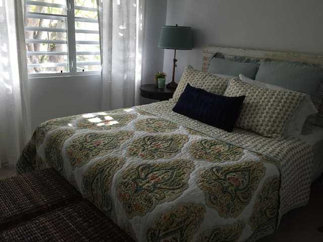 Queen bed and lots of natural light in both bedrooms