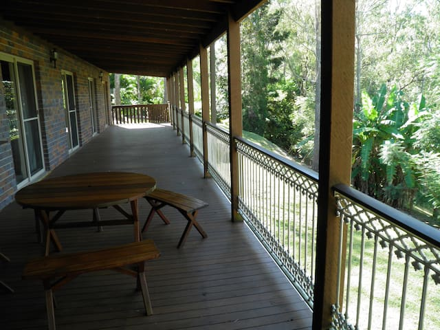 A huge covered deck
