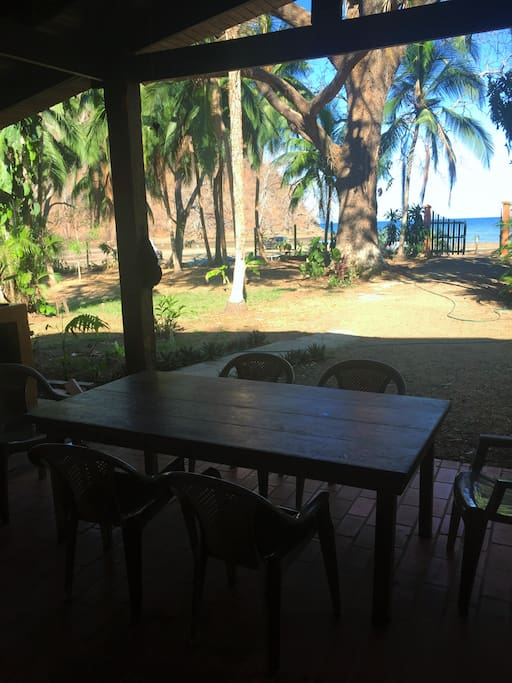 Outside dining on the terrace with ocean view (during dry season)