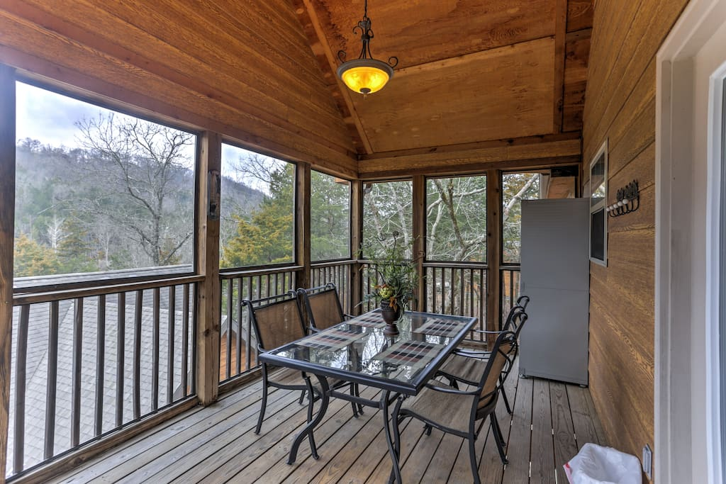 Admire wooded views from the covered private deck.