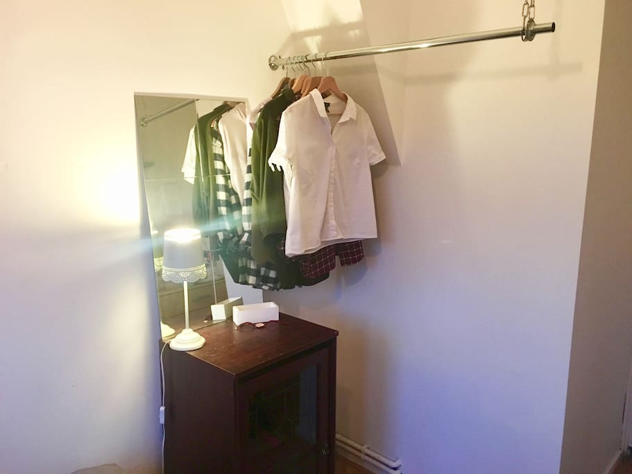 clothes rail and cupboard storage available