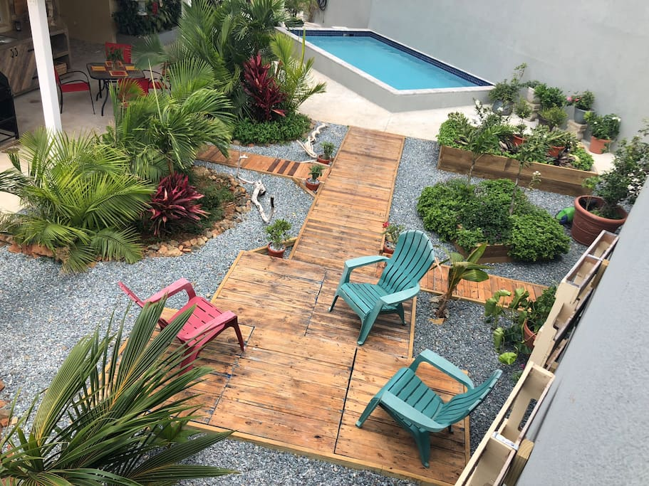 Courtyard to relax in at the end of a beach day.