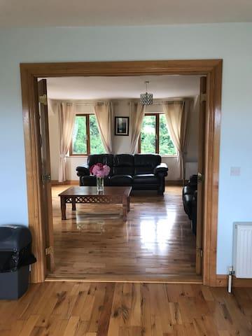 Kitchen to sitting room through double doors