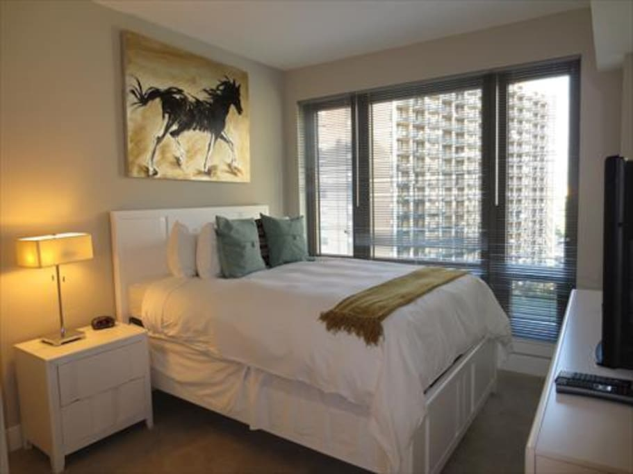 Our bedrooms are furnished with a  Queen bed, two night tables, and large walk-in closet.