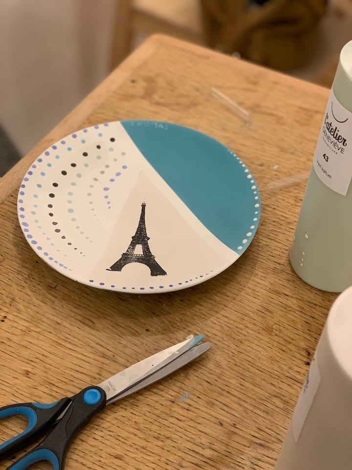 Céramique peinture, souvenirs de Paris