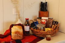Breakfast with freshly baked bread. Assorted teas and locally roasted coffee.