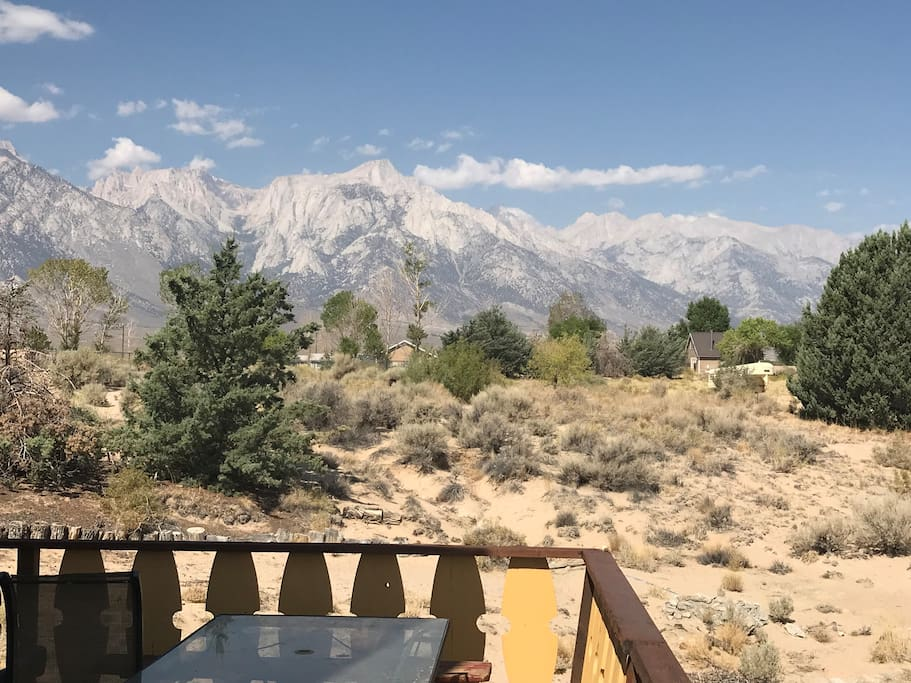 View of the Sierra and Lone Pine Peak from cabin deck