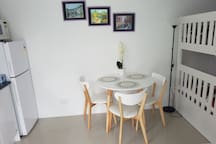 Good size fridge freezer for your long stay. Table for 3.