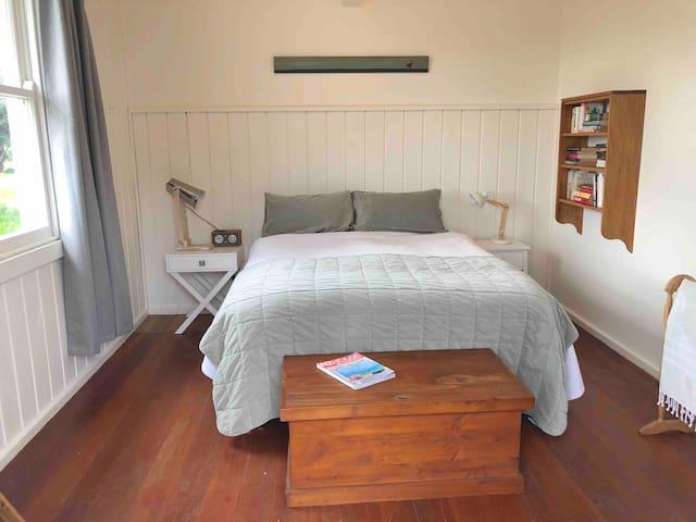 Bedroom 1 - double bed, doors open to front deck