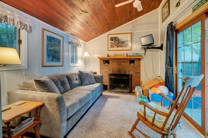 Lakefront views from this charming cottage w/ a fireplace & private dock