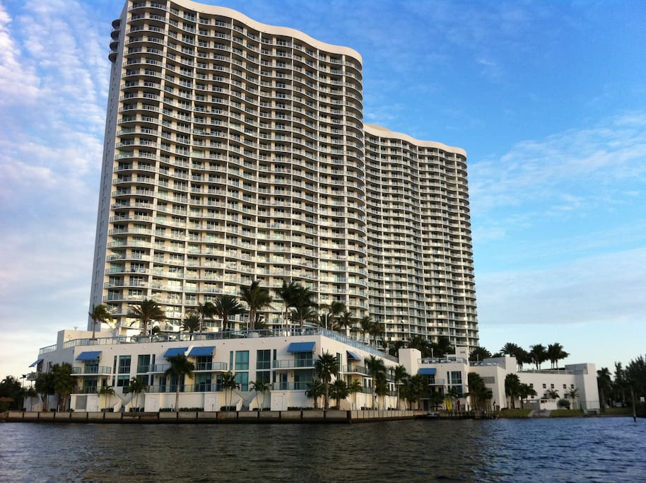 Waterfront Towers on Caloosahatche River and Fort Myers Harbor