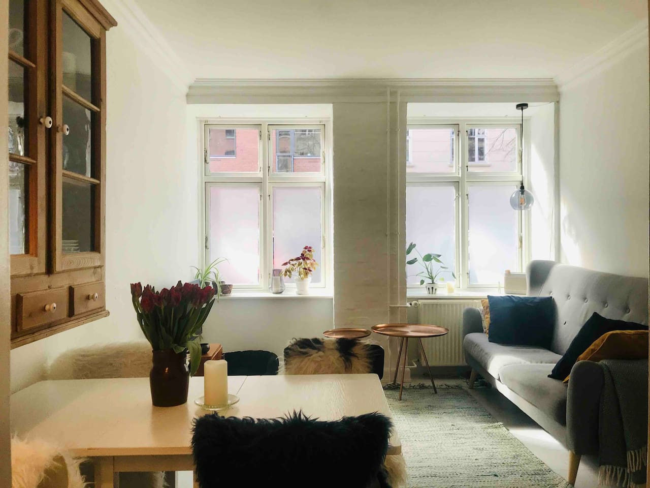 Light and spacious flat in the heart of Copenhagen. In the big living room you'll have the dining / working area and the couch. In the living room there further is a big TV which you can use with chrome cast once connected to the free wifi.