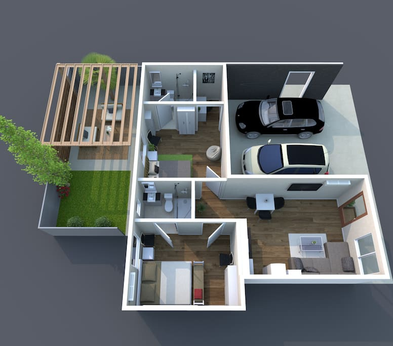 3D layout of the apartment. Parking for one vehicle , two bedrooms with individual en suite bathrooms, and rear private patio. Perfect for your stay!