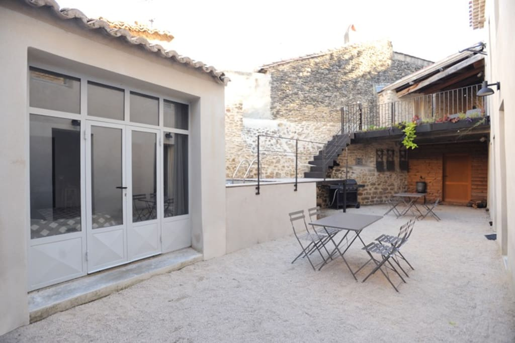 Private courtyard and studio entry.
