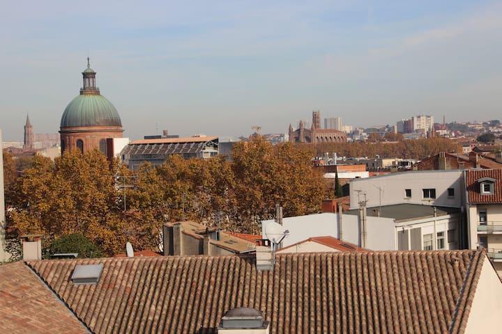 St Cyprien, duplex calme et vue sur les toits !