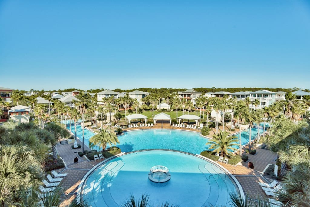 It overlooks the almost overwhelmingly big, condo complex lagoon pool.