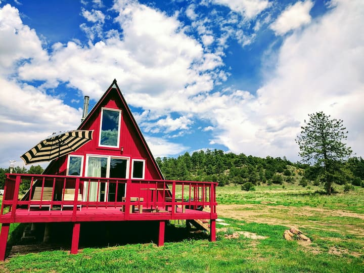 Off-Grid A-Frame Cabin Nestled 8,400' in CO Mtns
