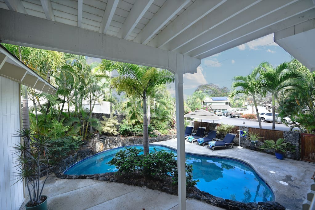 View of pool from one of the downstairs bedrooms private lanai.
