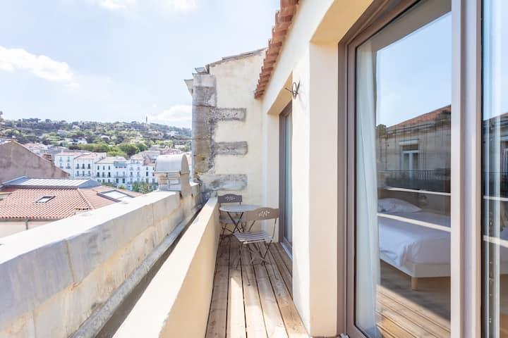 Chambre pour 5 personnes au centre ville de Sète