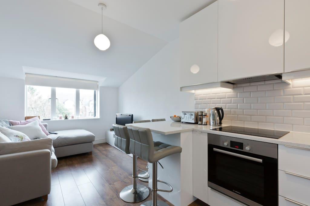 Open plan living room/kitchen with breakfast bar