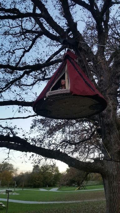 Floating Bed, swings in the wind and will give you the best night sleep ever.  Get your ZZZ's in the TreeZZZ'S at Shady Brook!