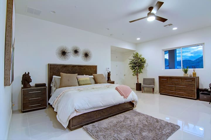 Comfortable bed in the master bedroom
