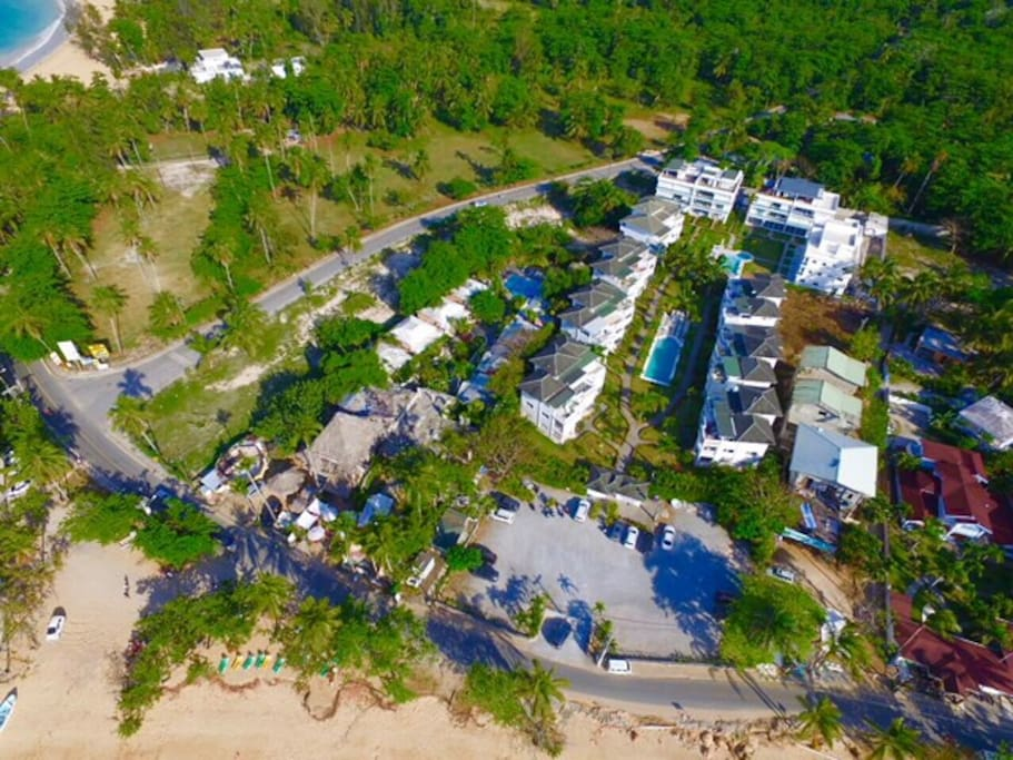 View of compound directly across from the beach