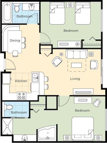 2 Bedroom Condo with balcony in National Harbor