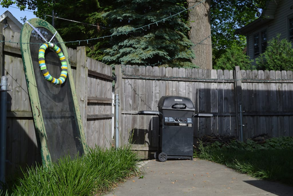 Patio grill and gate entrance.