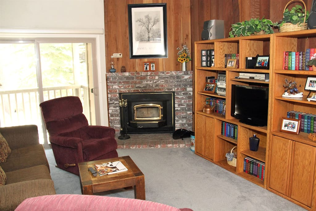 Mammoth Condo Rental Chamonix 12- Living Room with Flat Screen TV and Wood Burning Fireplace