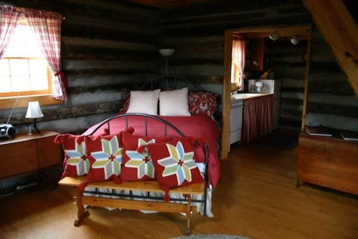 First floor bed-sit with wood burning store and screened in porch overlooking beautiful pond.