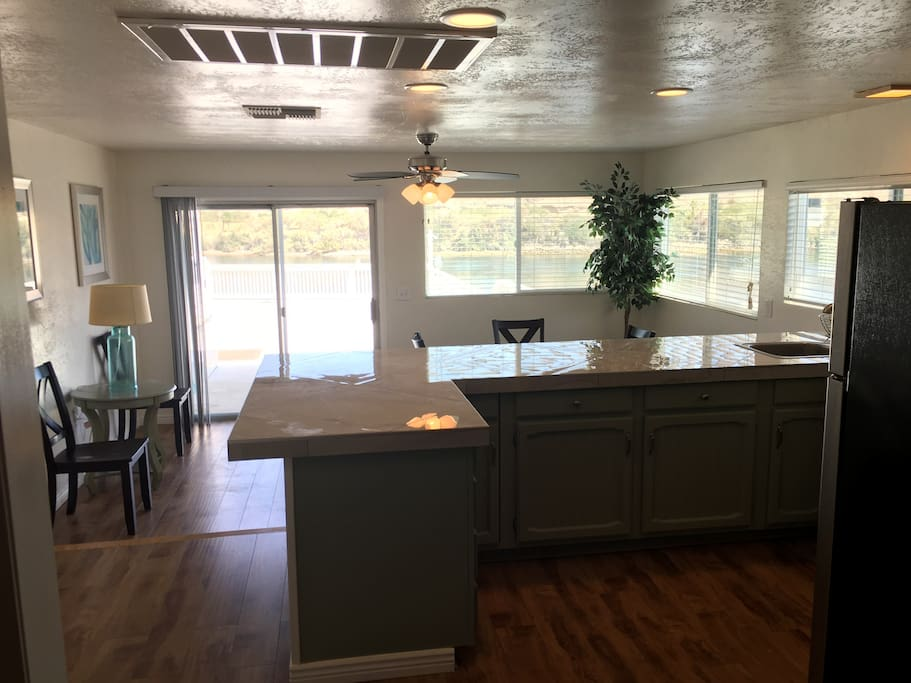 Kitchen, dining area overlooking the river.